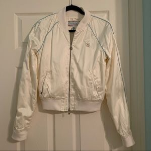 Abercrombie & Fitch satin cream bomber jacket
